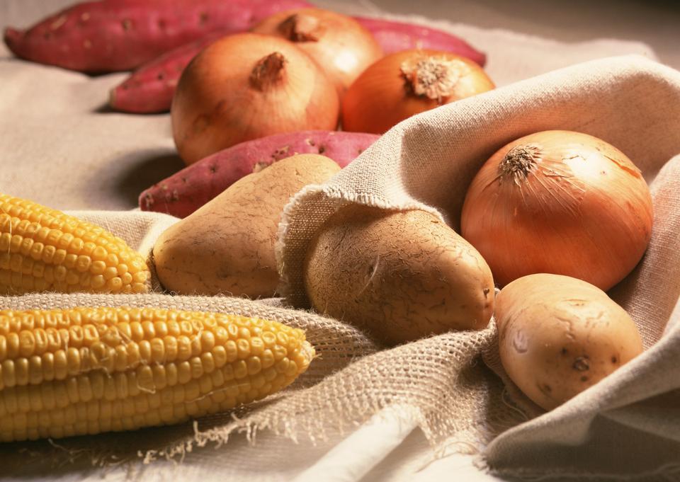 Onions, potatoes and corns
