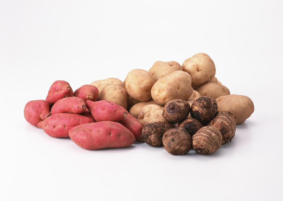 potatoes,taro, and red and golden sweet potatoes
