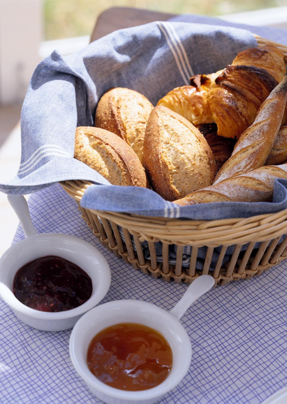 设置表与面包篮