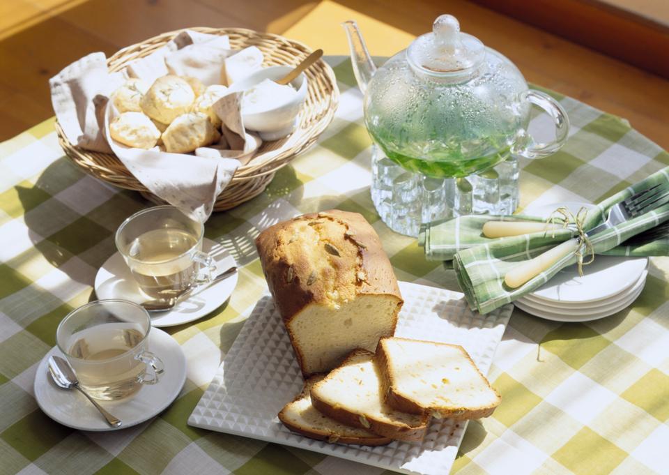 Bread and tea, sliced