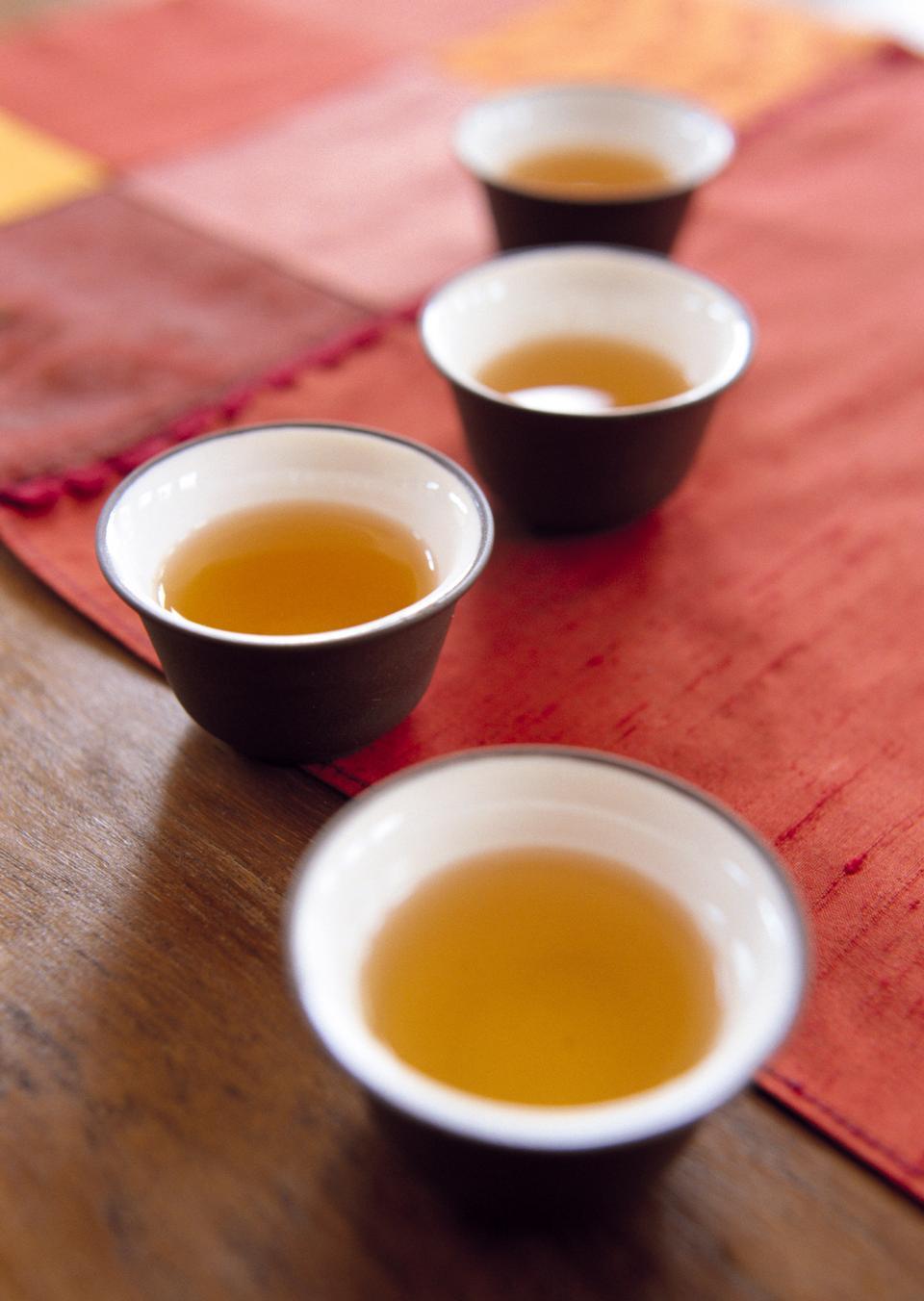 垫上集中国茶的特写
