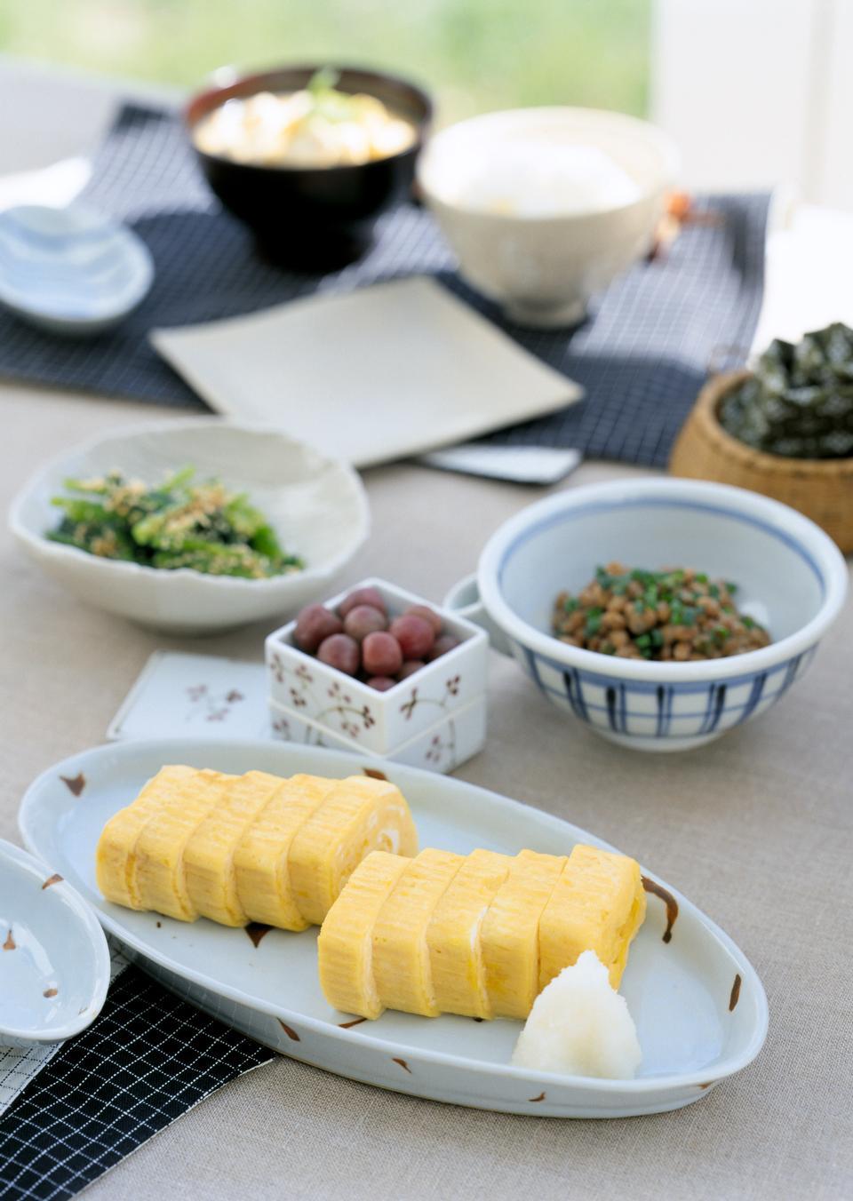 Japanese food, skewed Scallop Hotate Kaibashira