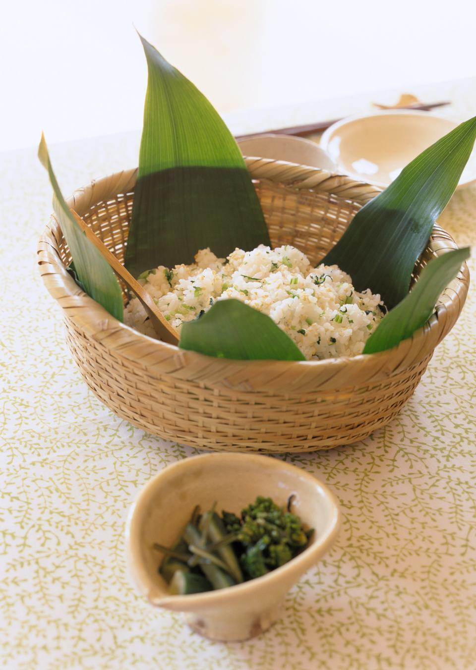 Japanese food, shiso herbal and sesame rice