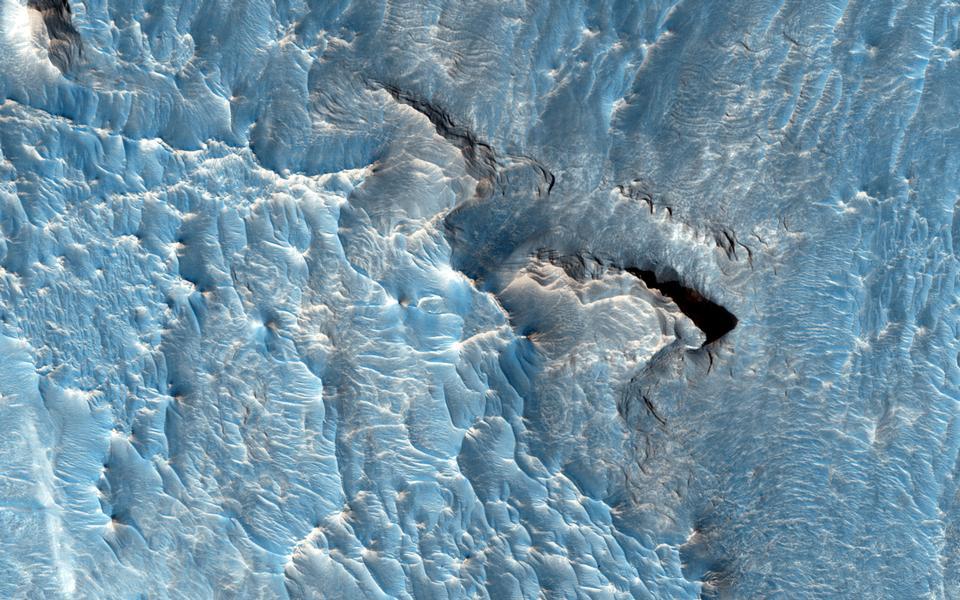 浅色调的存款在欧罗姆混沌区火星
