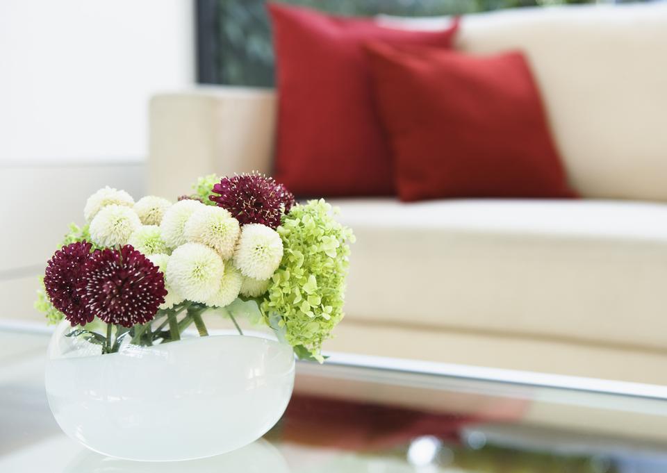 Flower vase in living room