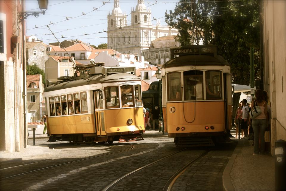 Two trams passing