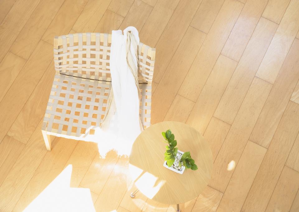 Bamboo chair on wood floor