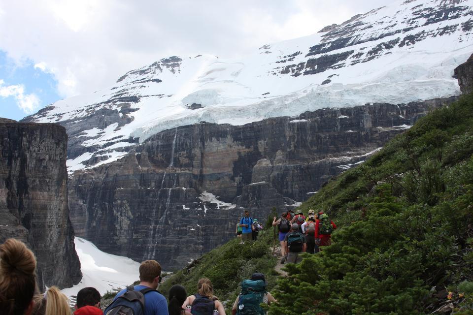 シックス氷河トレイル、レイクルイーズ、バンフ国立公園の平原