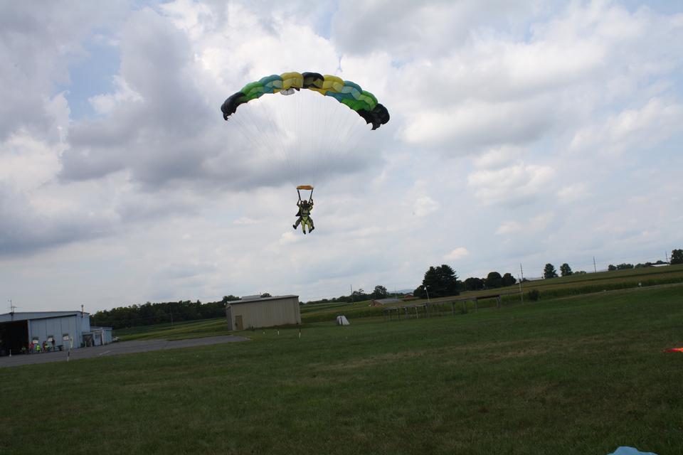 Skydiver. Parachuting is fun
