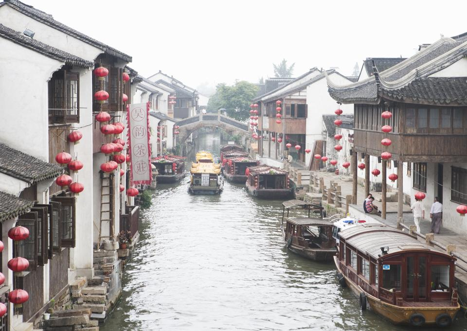 Suzhou old town canals and folk houses in Jiangsu, China