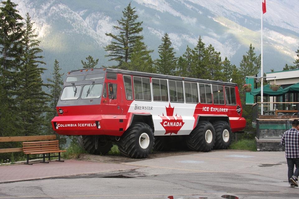 冰资源管理器在平顺阿萨巴斯卡冰川在加拿大艾伯塔省