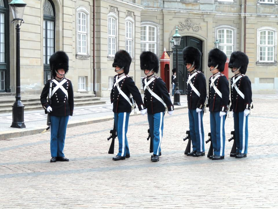 Royal Guard in Amalienborg Castle in Copenhagen in Denmark