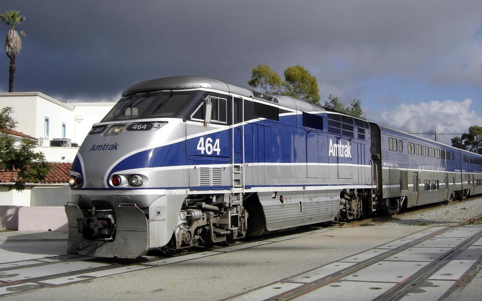 Amtrak leaving the station at Santa Barbara, CA.