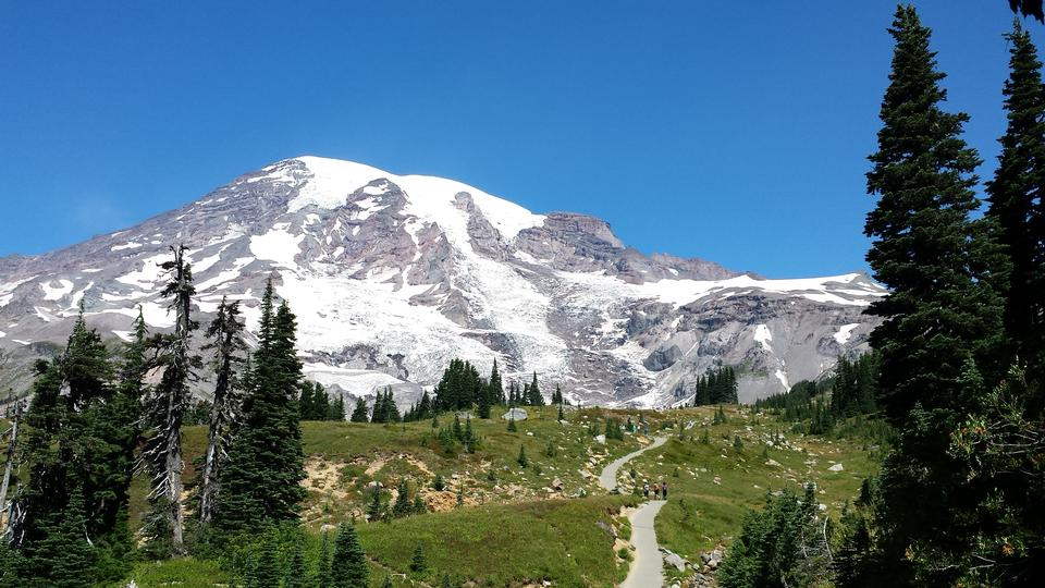 Mountain Hiking Trail Deep blue sky Mount Rainier