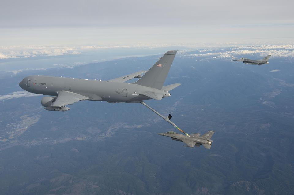 The KC-46A Pegasus performs aerial refueling