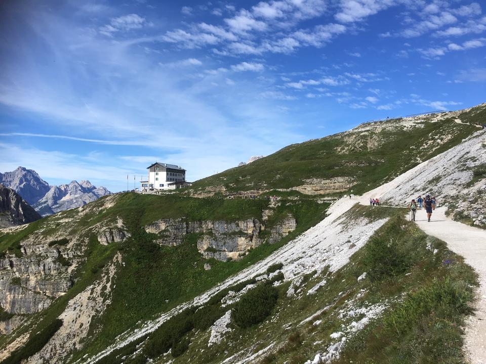 Dolomites mountain panorama and Locatelli Refuge