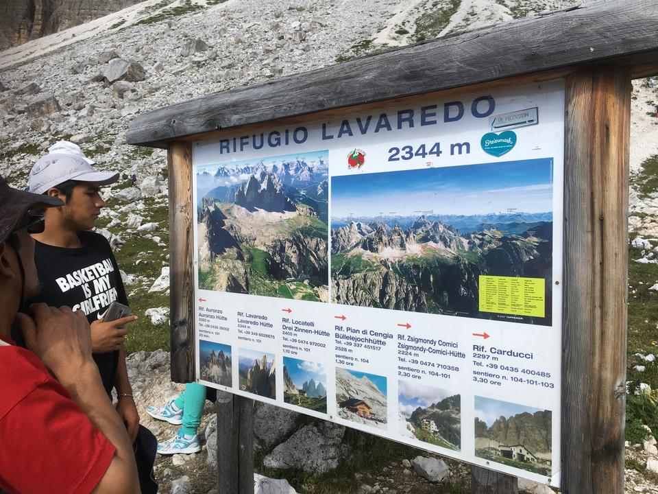 Dolomites mountain panorama and Locatelli Refuge