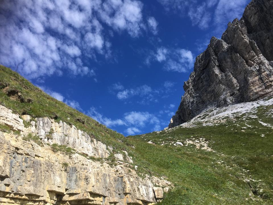Hiking in Dolomites mountains, Italy