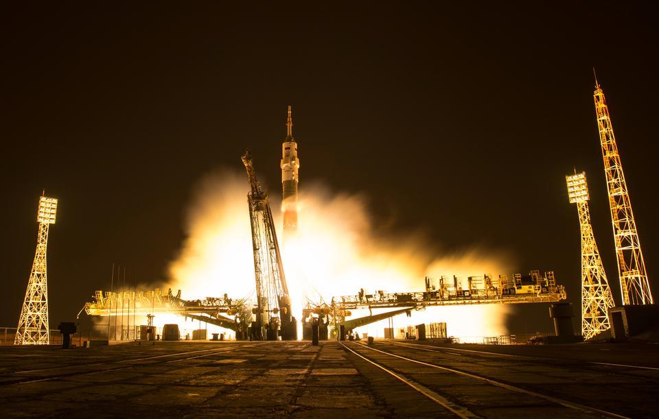 The Soyuz MS-03 spacecraft is seen launching