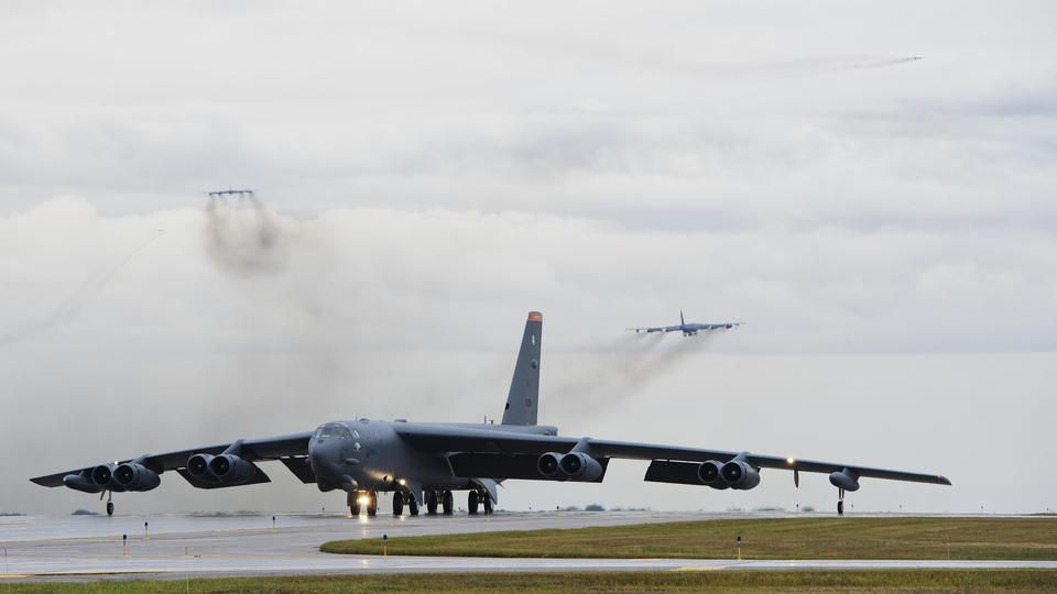 A B-52H Stratofortress taxis down the runway