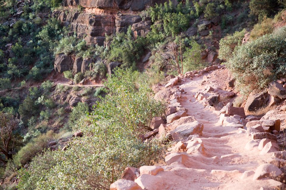 Rocky hiker path in the side of the valley of the Grand Canyon
