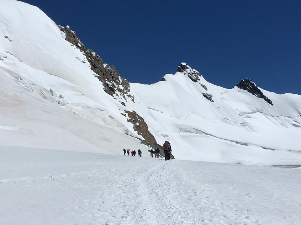 Roccia Nera and slope of Breithorn Gorner glacier Matterhorn
