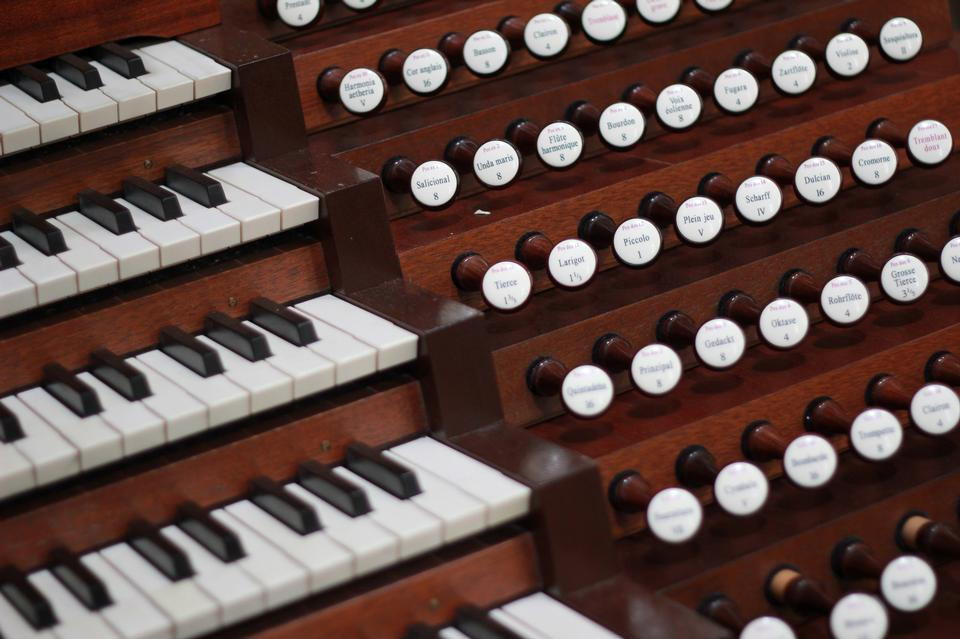 Close up view of a church pipe organ