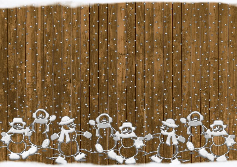 Christmas wooden background with Santas