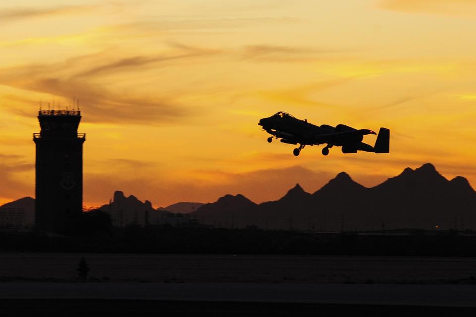 An A-10 Thunderbolt II takes off