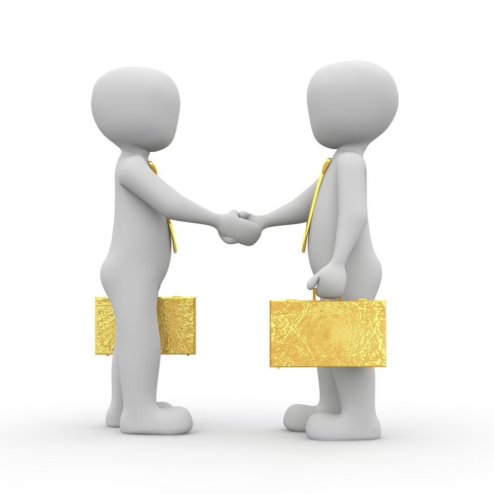 Businessman very happy,shaking hands