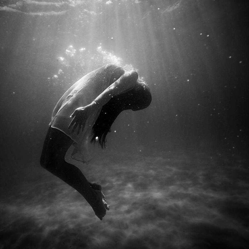 Woman in water black wgite picture