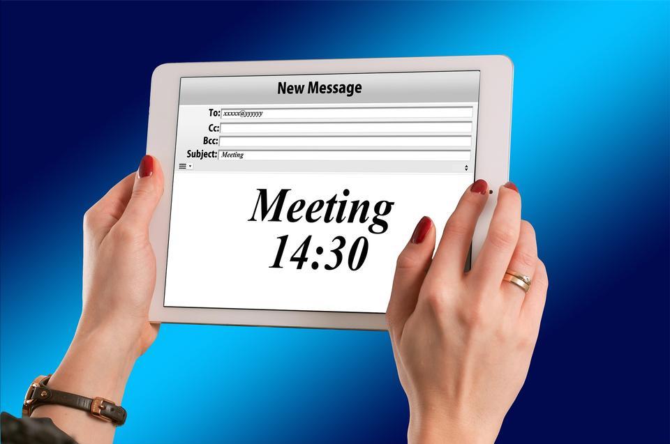 pianificatore affari con il segno Meeting