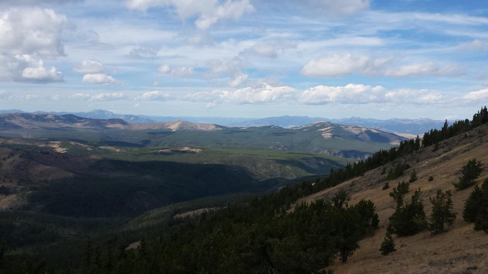 Huge Vista from Mt. Washburn over the Yellowstone plains