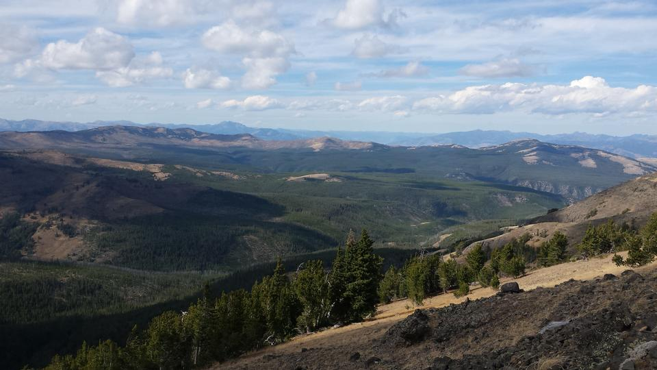 Huge Vista de Mt. Washburn sur les plaines de Yellowstone