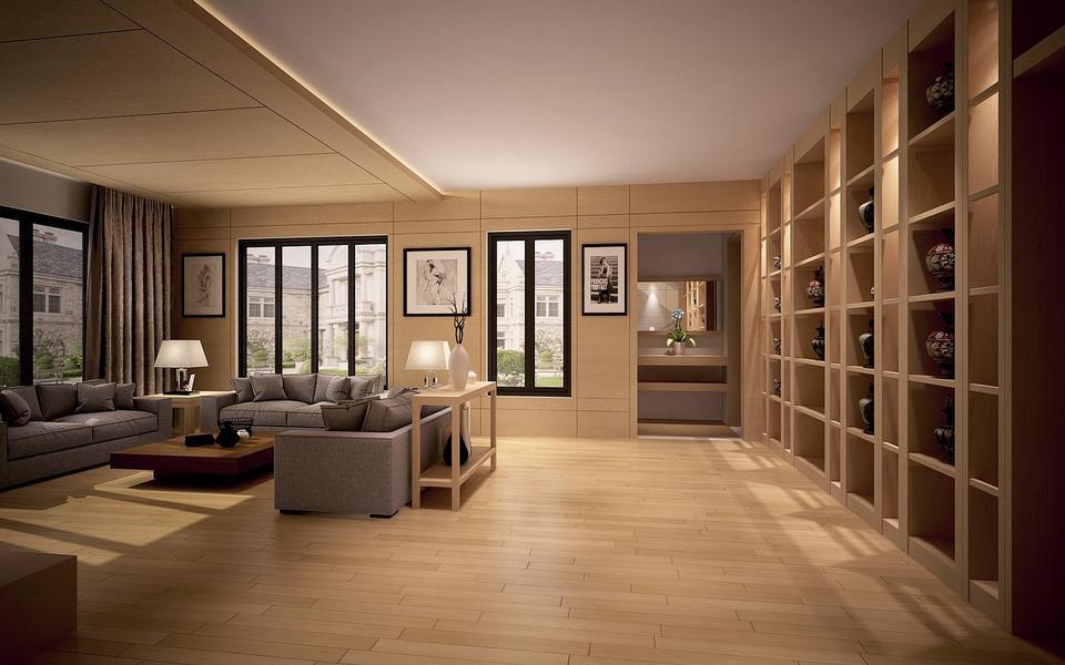 Luxury brown living room with hardwood floors