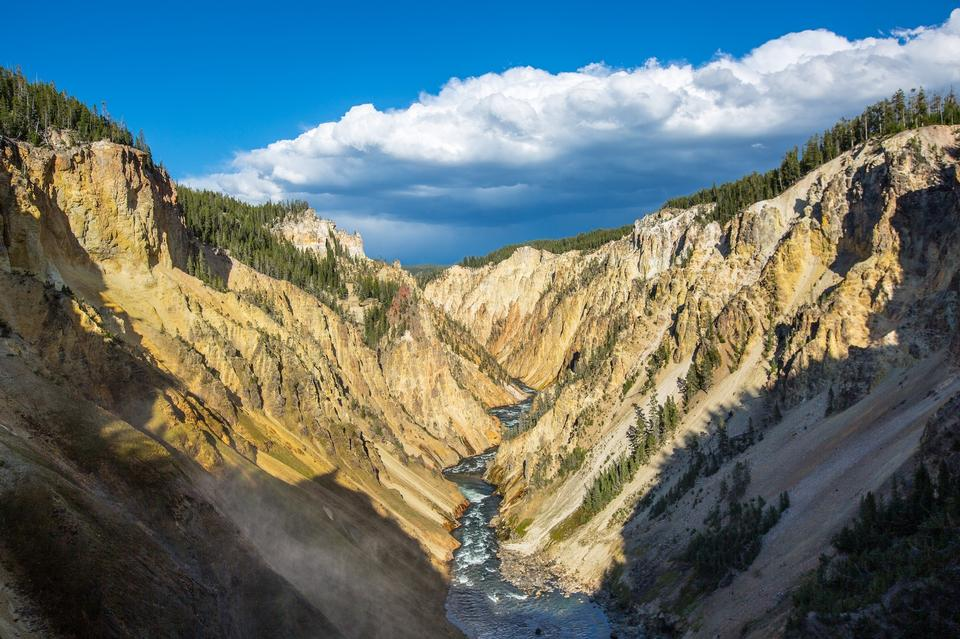Yellowstone Canyon guardando a valle delle Cascate Lower Yellowstone