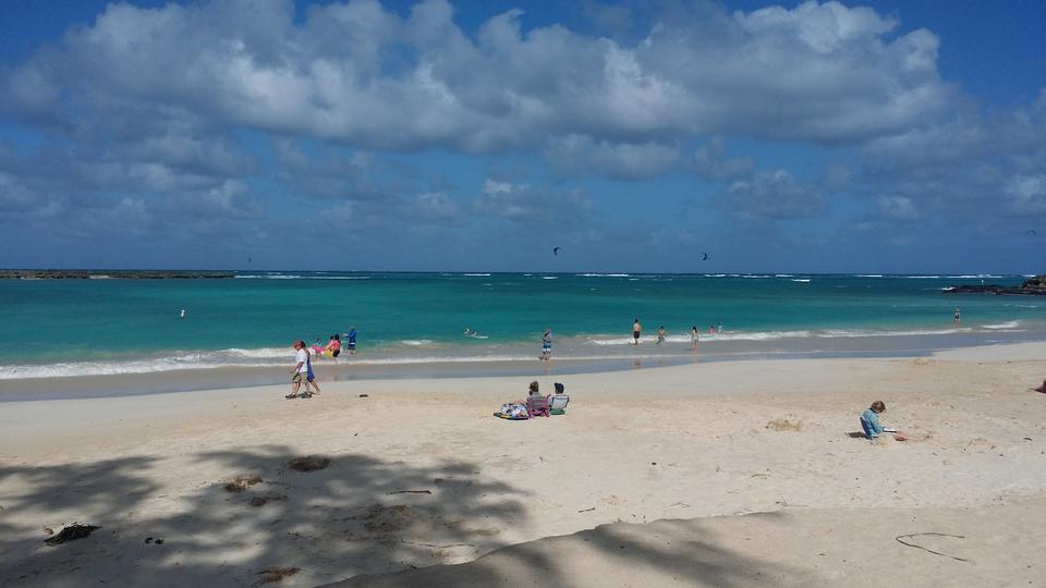 Sandy beach in Hawaii, Kauai