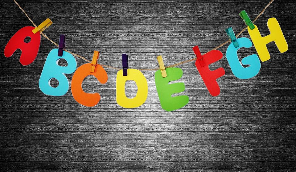 colorful plastic English alphabet