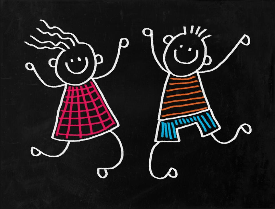 Happy smiling Kids Chalk on blackboard hand drawn doodle style,
