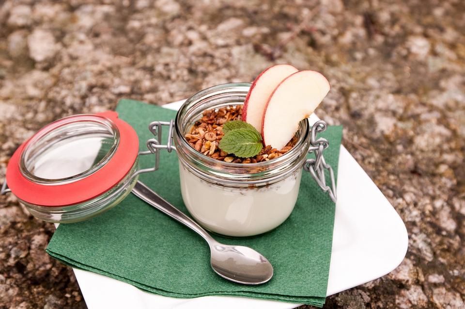 Homemade yogurt with granola, dried fruit and nuts bio - cia seed