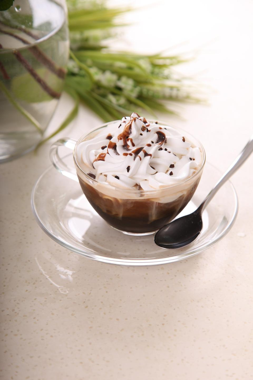 Chocolate dessert with whipped cream