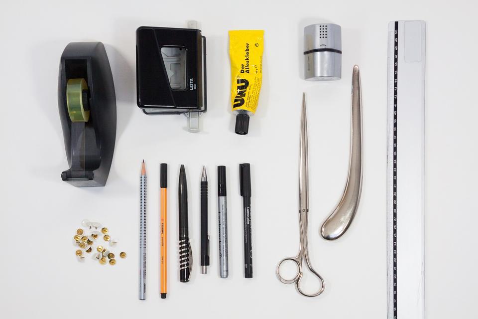 Office tools.Diagonal.Marker.Tape dispenser.Glue.Sharpener.