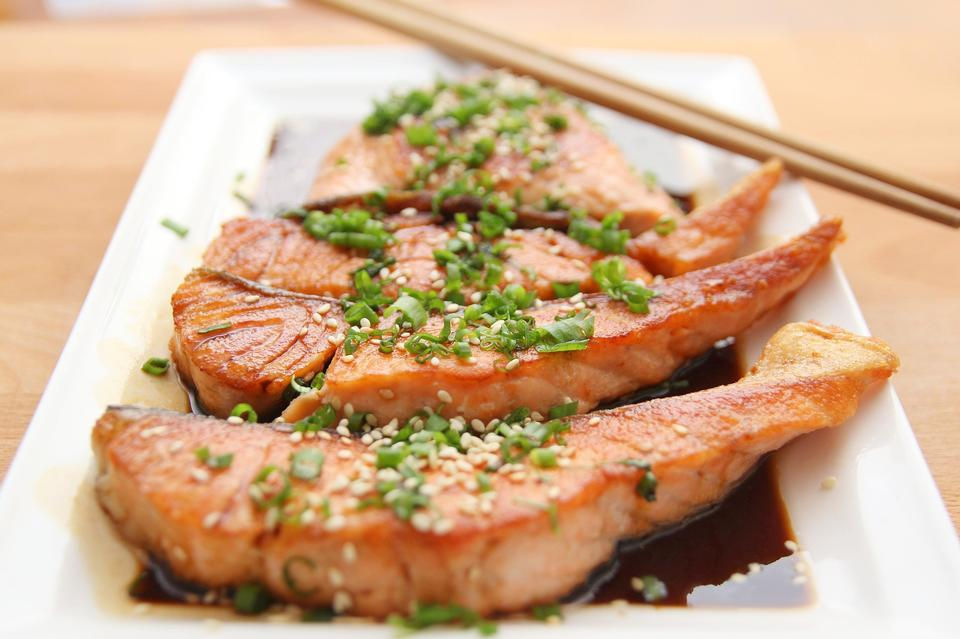 Grilled Salmon Steak with source