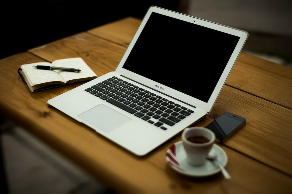 Comfortable working place.laptop on wooden table