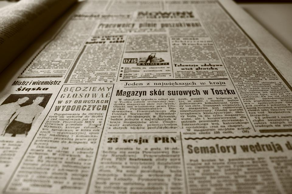 Mock up of vintage newspaper using fake latin  Image ID:66026035