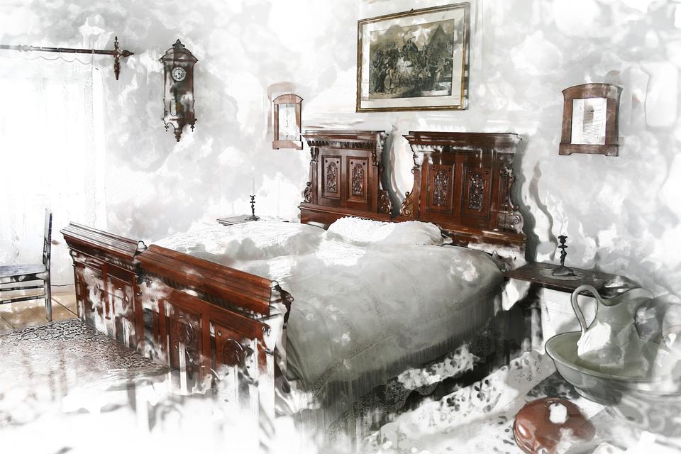 豪华卧室内部具有丰富的家具手绘图