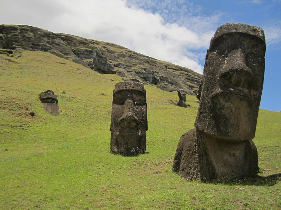 Moais in Rapa Nui National Park on the slopes of Rano Raruku