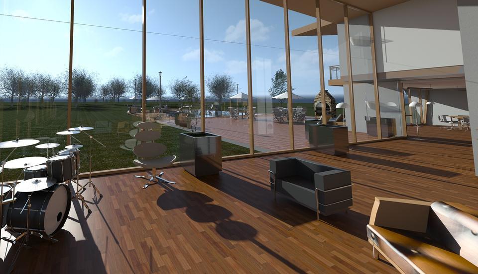 현대적인 디자인 거실의 인테리어