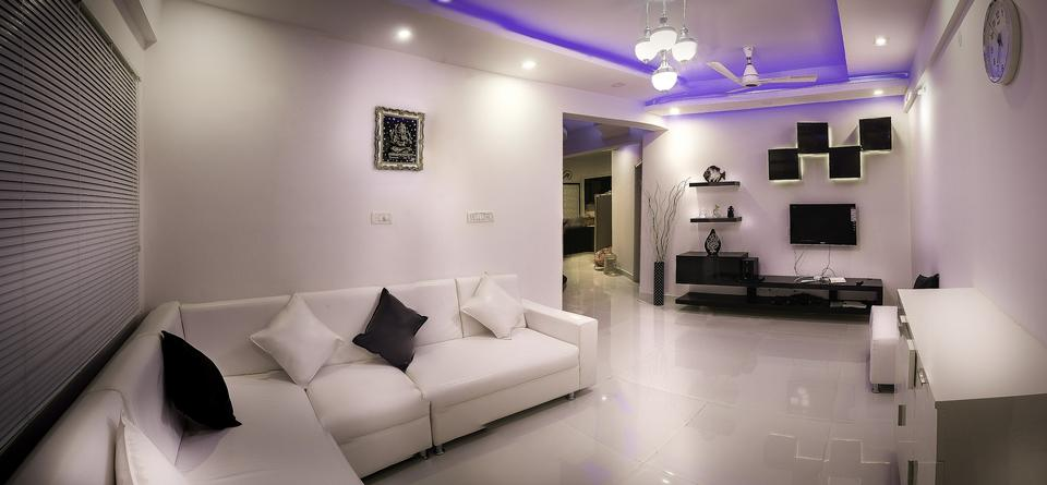 Gray bench in anteroom in luxury apartment