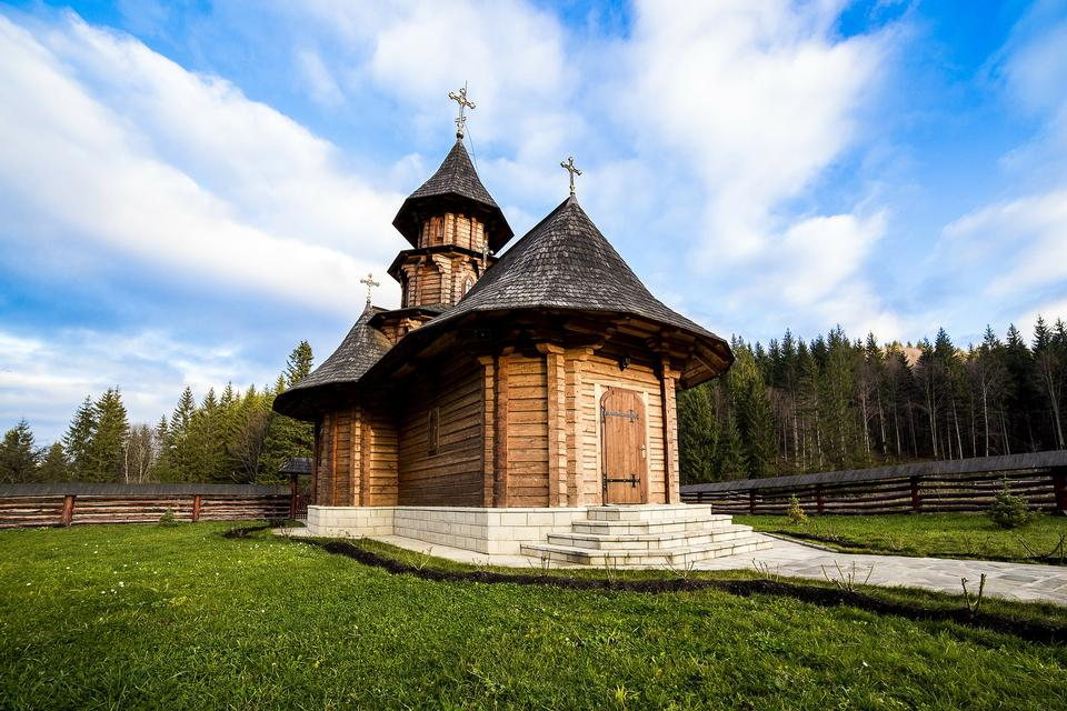 Small wooden church near the forest, Sihastria Putnei monastery